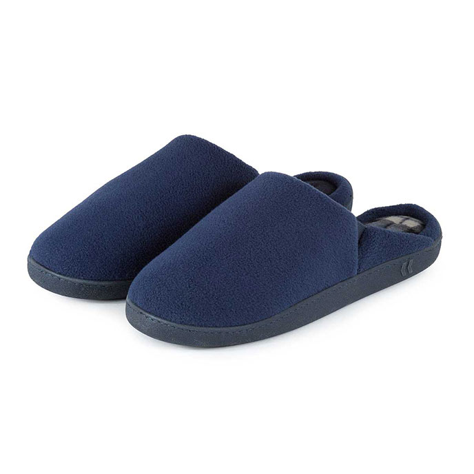 Isotoner Mens Fleece Check Mule Slippers Navy with Check
