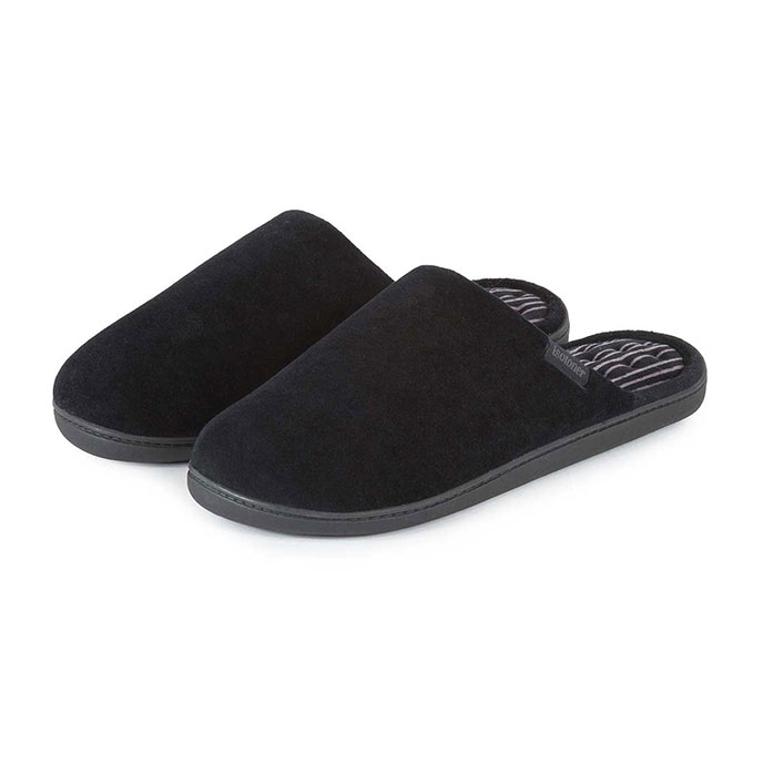 Isotoner Mens Velour Stripe Pillowstep Mule Slippers Black with Stripe