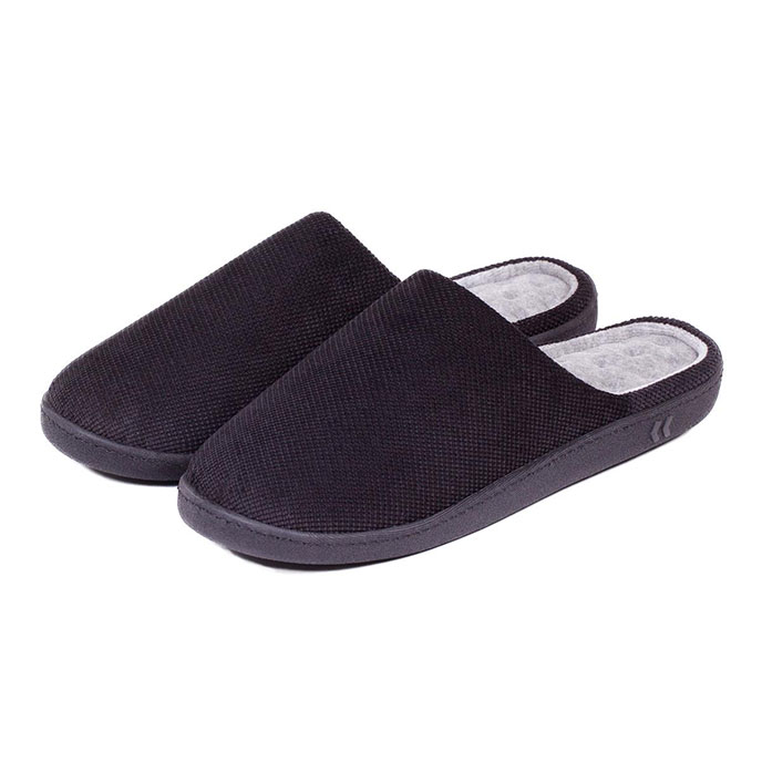 Isotoner Mens Pillowstep Cord Mule Slippers Black