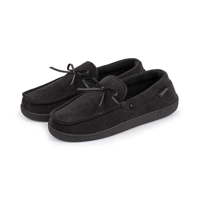 Isotoner Mens Pillowstep Cord Moccasin Slippers Black