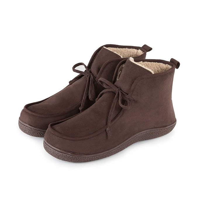 Isotoner Mens Suedette Boot Slippers Brown