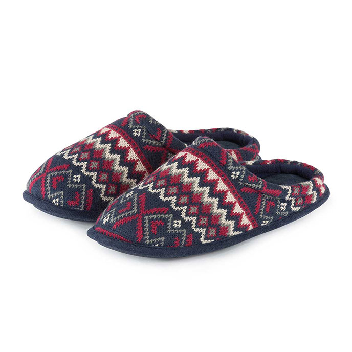 Isotoner Mens Fair Isle Knit Mule Slippers Navy/Red