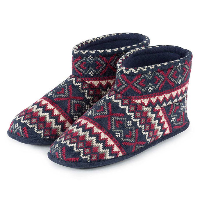 Isotoner Mens Fair Isle Knit Boot Slippers Navy/Red