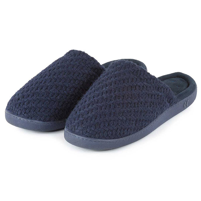 Isotoner Mens Textured Knit Mule Slippers Navy Large (UK 1011)