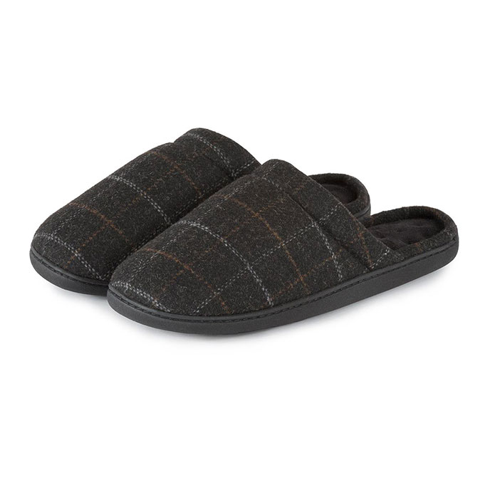 Isotoner Mens Woven Check Mule Slippers Check