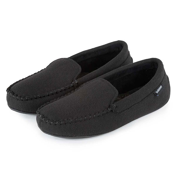 Isotoner Mens Woven Check Moccasin Slippers Black