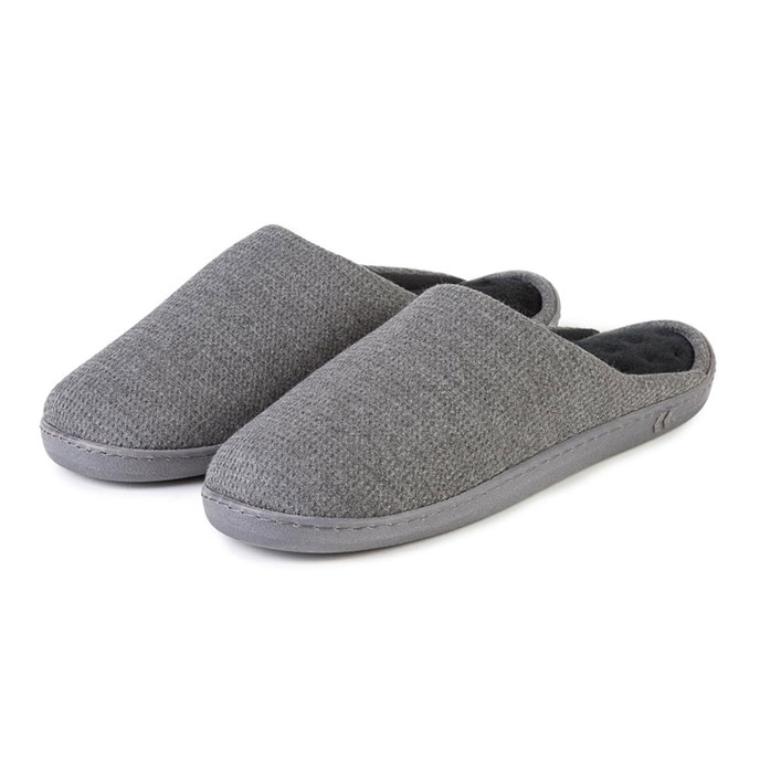 Isotoner Mens Textured Pillowstep Mule Slippers Charcoal Grey