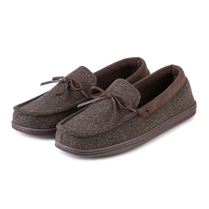 Isotoner Mens Wool Moccasin Slippers Brown