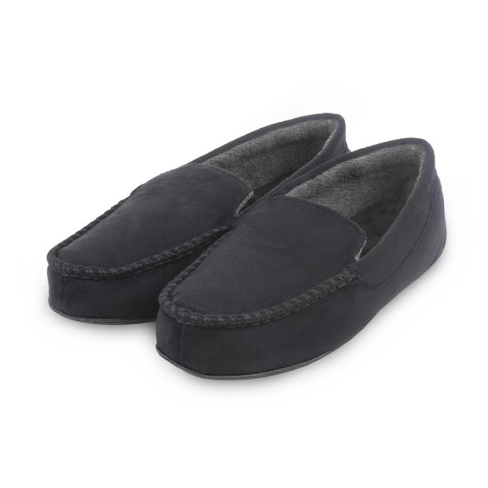 isotoner Mens Pillowstep Driving Moccasin Slippers Black