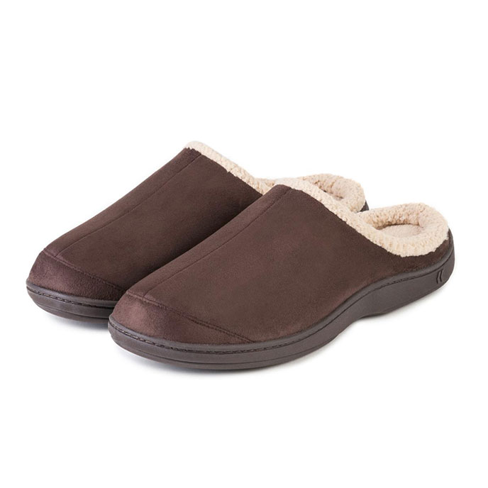 Isotoner Mens Suedette Mule Slippers with Seam Detail Chocolate