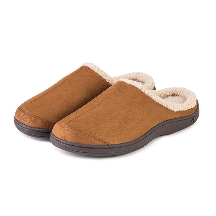 Isotoner Mens Suedette Mule Slippers Tan