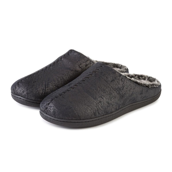 Isotoner Mens Distressed Mule Slippers Black