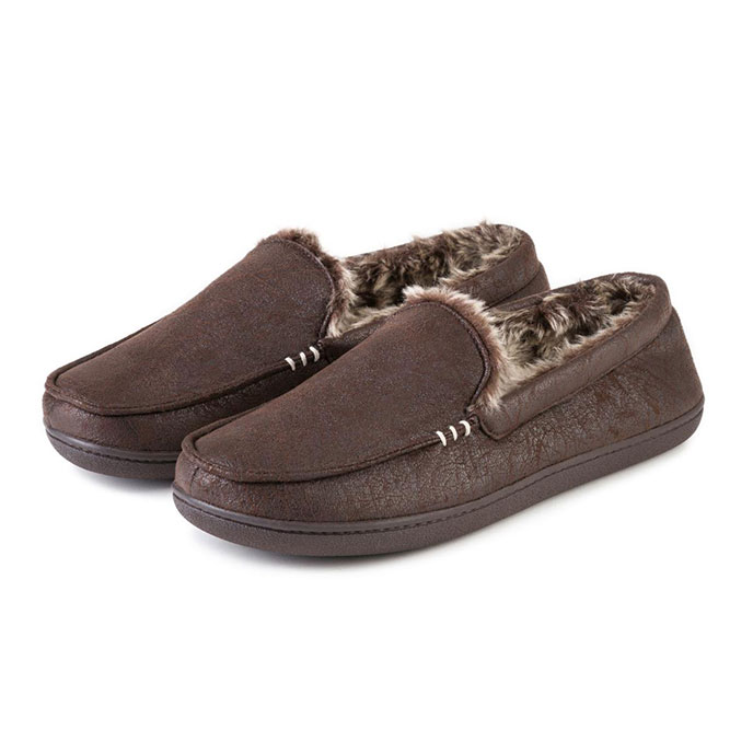 Isotoner Mens Distressed Moccasin Slippers  Brown