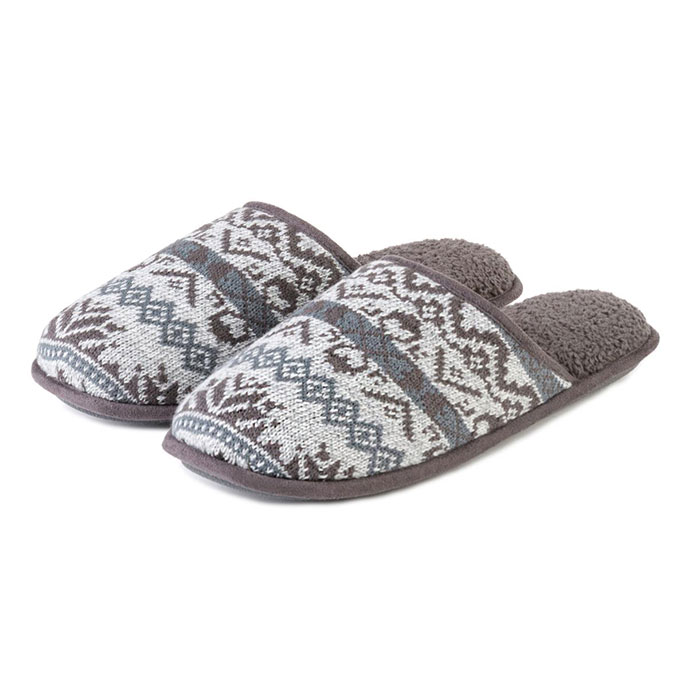 Isotoner Mens Fair Isle Knit Mule Slippers Grey Marl