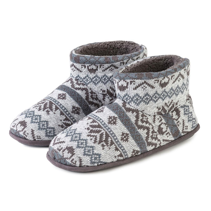 Isotoner Mens Fair Isle Bootie Slipper Grey Marl