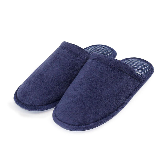Isotoner Mens Terry Mule Slippers Navy