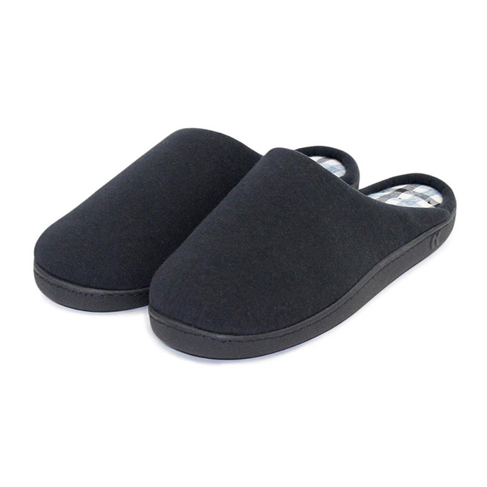 Isotoner Mens Mule Slippers with Check  Black