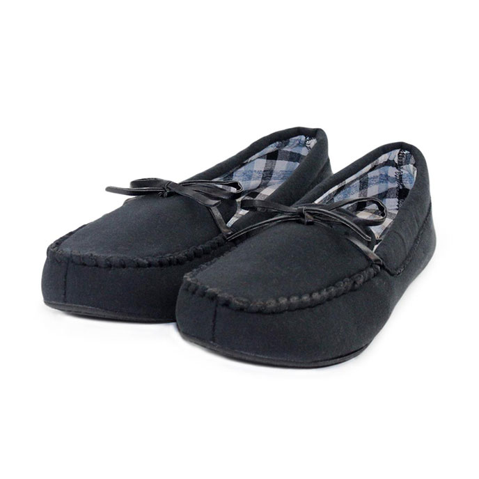 Isotoner Mens Check Moccasin Slippers  Black
