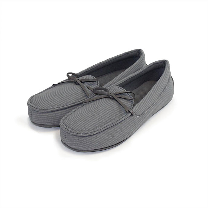 Isotoner Mens Woven Stripe Moccasin Slippers Grey