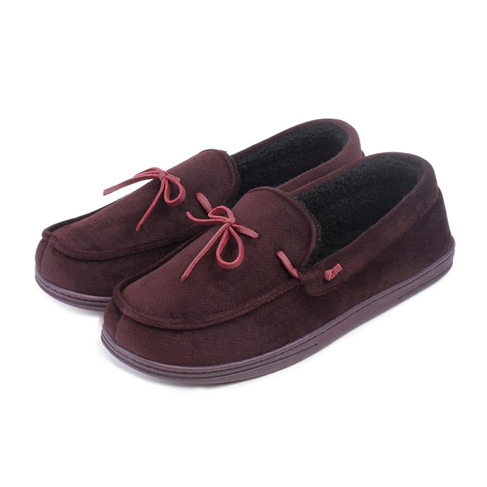 Isotoner Mens Herringbone Velour Moccasin Slippers Burgundy