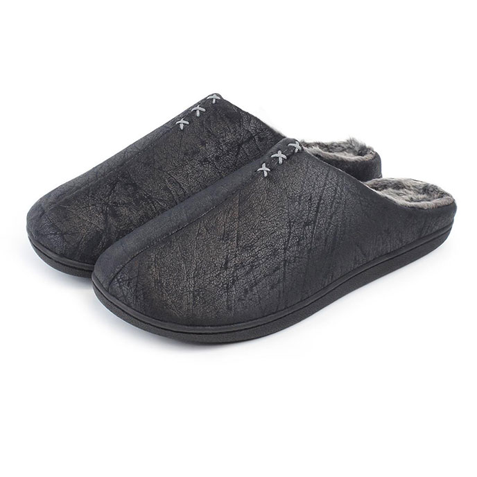 Isotoner Mens Distressed Mules Black