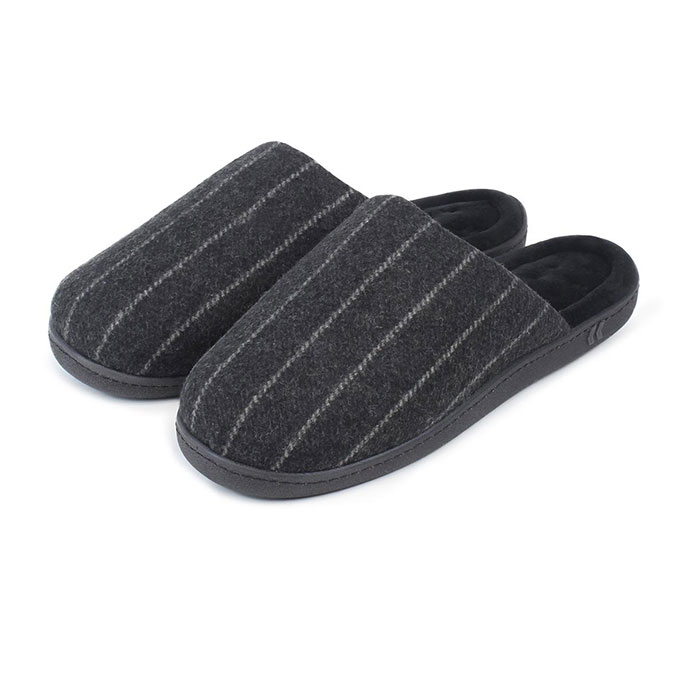 Isotoner Mens Pinstripe Woven Mules Grey