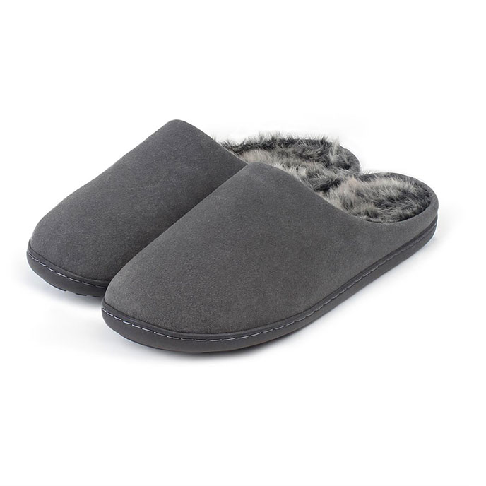Isotoner Mens Heritage Suede Boxed Mule Slippers Grey