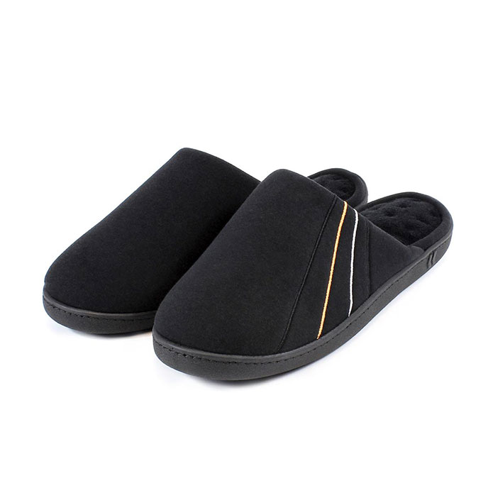 Isotoner Mens Jersey Mule Slippers Black