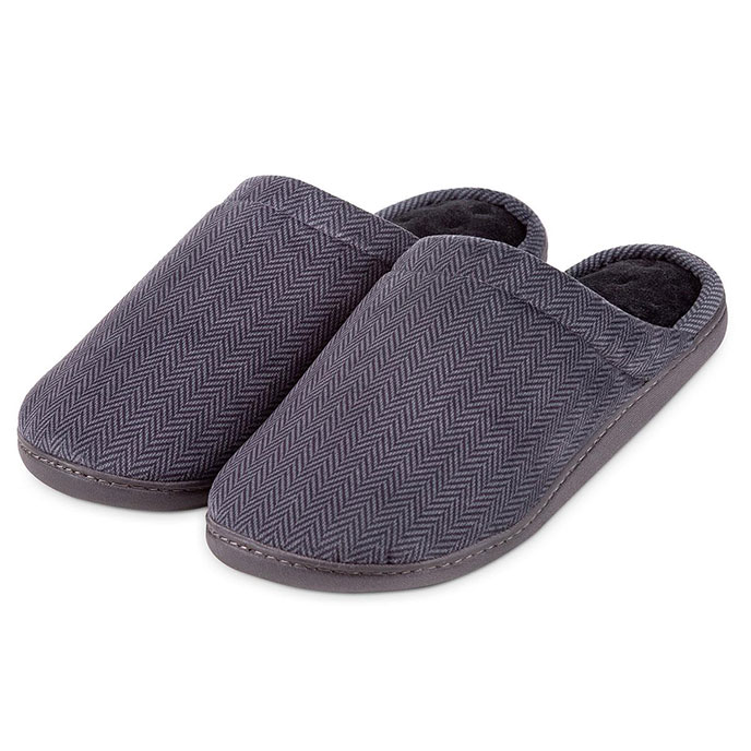 Isotoner Mens Herringbone Velour Mule Slippers  Grey