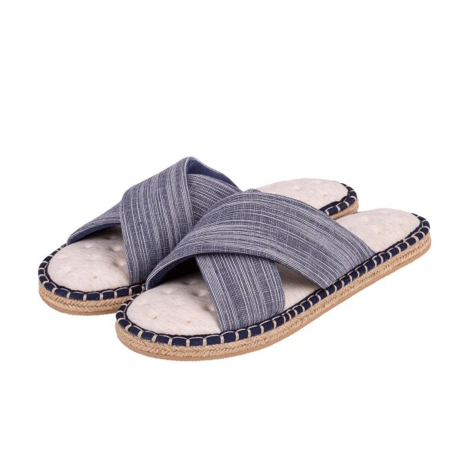 Isotoner Mens Espadrille Cross Front Slippers Denim