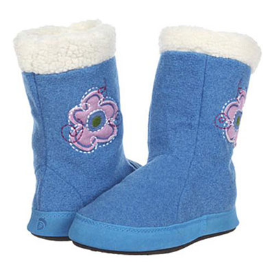 Acorn Kids Flower Power Boot Slippers Sea Heather
