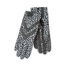 Isotoner Ladies Wonderfit Stretch Gloves Grey Animal