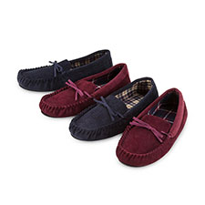 totes Mens Check Lined Cord Moccasin Slippers