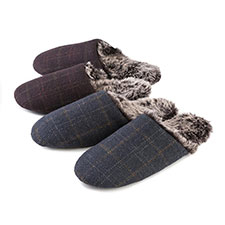 totes Mens Fur Lined Check Mule Slippers