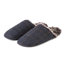 totes Men's Fur Lined Check Mule Slipper