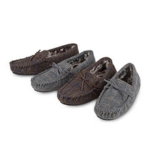 7a0d3b67617 totes Mens Fur Lined Check Moccasin Slippers
