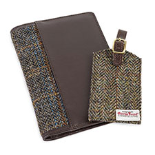 totes Mens Harris Tweed Travel Wallet & Tag