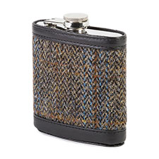 totes Mens Harris Tweed Hip Flask