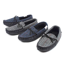 totes Mens Harris Tweed Moccasin Slippers