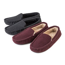 totes Mens Textured Moccasin Slippers