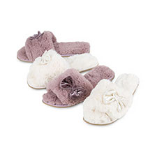 totes Ladies Textured Fur Open Toe Slippers