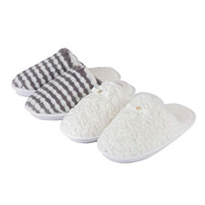 totes Ladies Textured Fur Mule Slippers