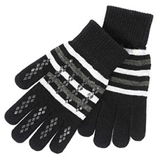 totes Mens Original Stretch Gloves Grey Stripe