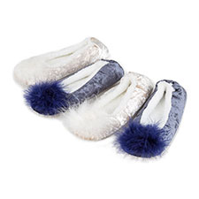 totes Ladies Sparkle Velour Ballet Slippers