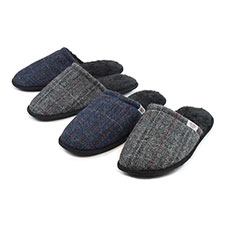 totes Mens Harris Tweed Mule Slippers