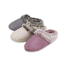 totes Ladies Suedette Fur Mule Slippers