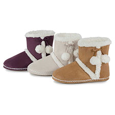 totes Ladies Suedette Bootie Slippers