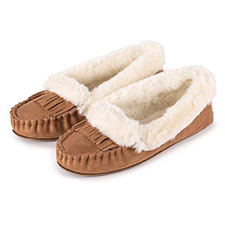 totes Ladies Fringed Suedette Moccasin Slippers
