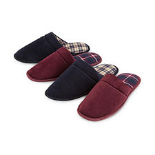 totes Mens Check Lined Cord Mule Slippers