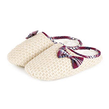 totes Ladies Knitted Mule With Tartan Trim Slippers